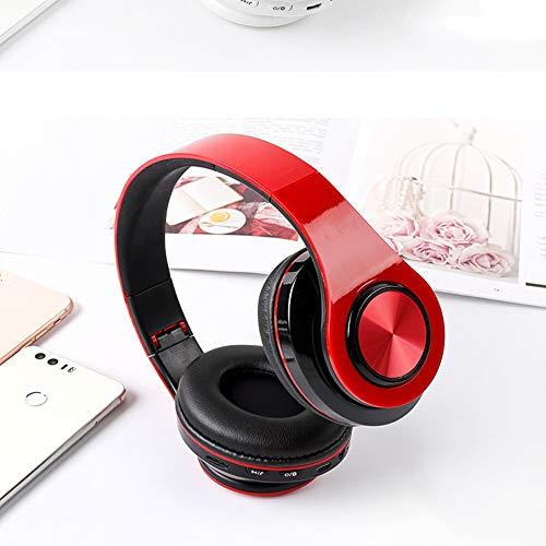 BSTLY Auriculares - Auriculares de Profesionales Ultraportátiles con-Auriculares Inalámbrico Bluetooth 5.0 Tarjeta de auriculares universal Subwoofer Rojo Negro
