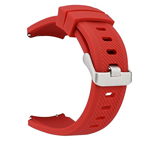MroTech 22 mm Cinturino di Ricambio Silicone compatibile per Samsung Gear S3 Frontier/Classic/ Galaxy Watch 46mm/Huawei Watch 2 Classic/GT/GT2/GT Active/Elegant 22mm Sport Band per Uomo Donna -Rosso