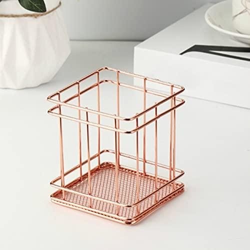 CNYG Cestas de almacenamiento, cesta de alambre, estilo nórdico, cajas de almacenamiento para maquillaje, armario, baño, dormitorio, rosa, 9,1 x 9,1 x 10,1 cm