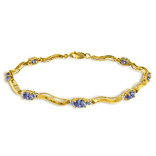 Galaxy Gold 2.01 Carat 14k Solid Gold Tennis Bracelet Diamond Tanzanite