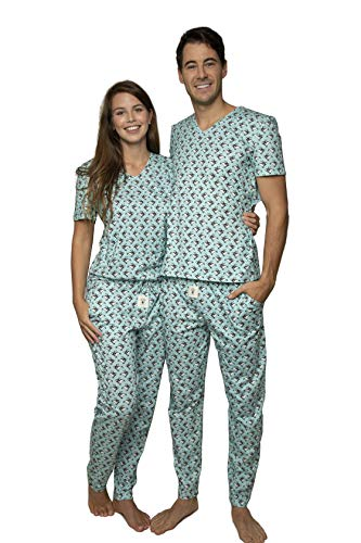 Happy Pijama Pyjama Loungewear Set – Unisex Lange Hose und T-Shirt 100% Bio-Baumwolle in Geschenkbox Gr. Medium, Skating Pinguine