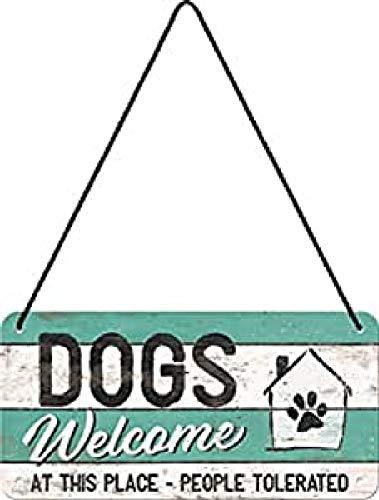 Nostalgic-Art Cartel Colgante Retro Dogs Welcome – Idea de Regalo para los dueños de Perros, metálico, Diseño Vintage para decoración, 10 x 20 cm