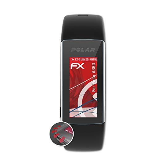 atFoliX Schutzfolie passend für Polar A360 Folie, entspiegelnde & Flexible FX Bildschirmschutzfolie (3X)