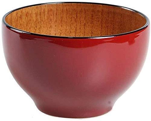 YZjk Novelty Home Schüsseln und Schalen, Holzschale, runde Müslischale/Suppenschale, große Kapazität, hitzebeständig, Haushalt für Kinder geeignet Ramenmilchshake Obst Nudel Geschirrspüler
