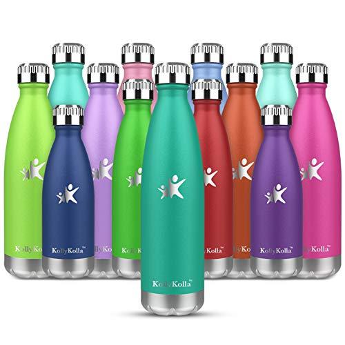 KollyKolla Botella de Agua Acero Inoxidable, Termo Sin BPA Ecológica, Botellas Termica Reutilizable Frascos Térmicos para Niños & Adultos, Deporte, Oficina, Yoga, Ciclismo, (750ml Esmeralda)