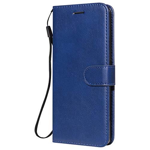 Hülle für Oppo realme7Pro Lederhülle Flip Tasche Klappbar Handyhülle mit [Kartenfächer] [Ständer Funktion], Cover Schutzhülle für Oppo realme 7 Pro - JEKT052582 Blau