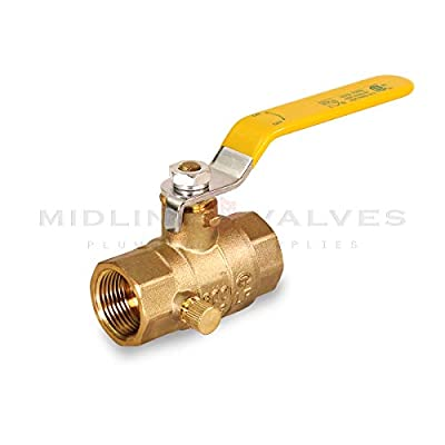 Midline Valve 627T223-NL Premium Full Port Ball Valve with Drain Brass, x 1 in. FIP, 1 in. FIP x 1 in. FIP by Everflow Supplies