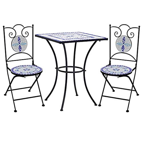 UnfadeMemory Set Bistro 3 pz da Esterno, Bar Tavolo e Sedie Pieghevoli Giardino con Mosaico in Ceramica (Blu e Bianco)