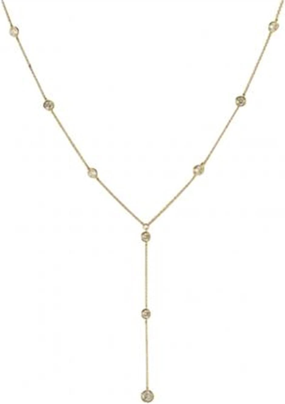 ZHBO Rhinestone Inlaid Long Drop Bridal Back Necklace Lady Body Chain Wedding Jewelry Necklace for Women for Women (Metal Color : Golden)