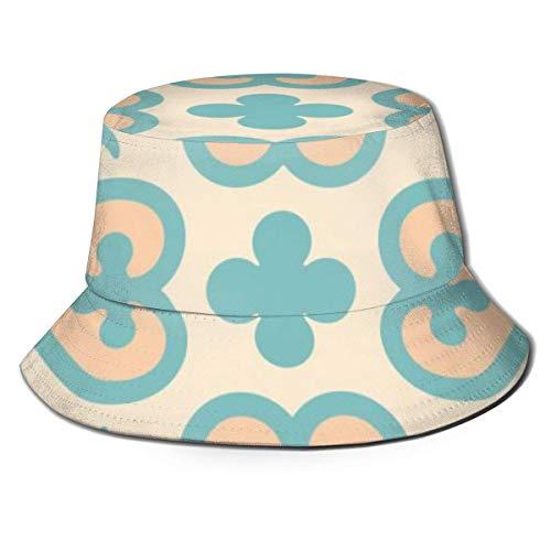 Bucket Hat für Damen & Herren Fisherman Golf Hat Faltbare Kappe Sun/Rain Shield Print Hydraulische Vintage Zementfliesen Schwarz