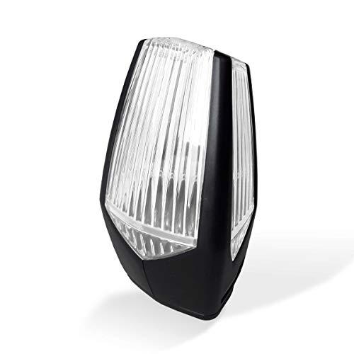 Motorline MP105 nueva lámpara destellante led multitensión para señalizar maniobra de puertas automáticas de garaje, cancelas correderas, parking, luz intermitencia destello señalización