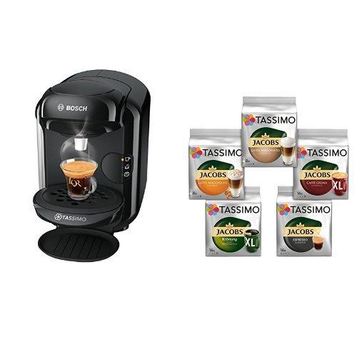 Bosch Tassimo TAS1402 Kapselmaschine + Tassimo Vielfaltspaket - 5 verschiedene Packungen kaffeehaltiger Getränke T Discs (1 x 927 g)