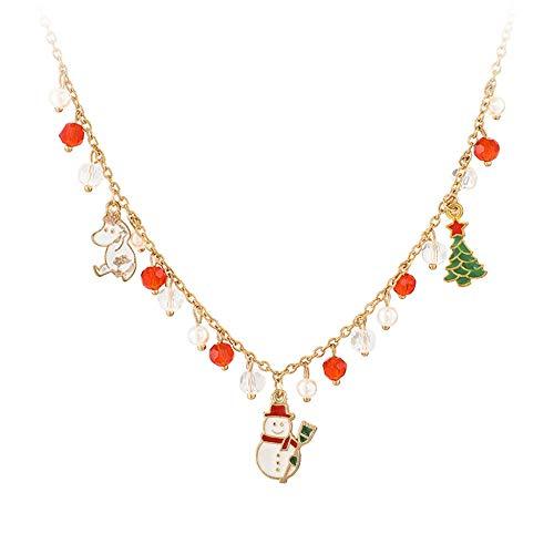 NO BRAND 2019 Collar de Navidad Gargantilla de joyería de Moda Lindo muñeco de Nieve Collar de árbol de Navidad Navidad Creativa