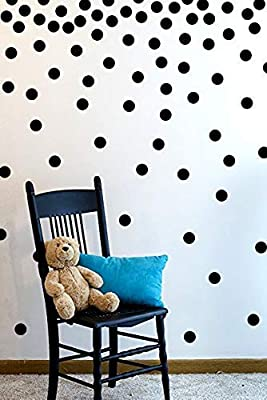 Wall Decal Dots (200 Decals) | Easy to Peel Easy to Stick + Safe on Painted Walls | Removable Metallic Vinyl Polka Dot Decor | Round Sticker Large Paper Sheet Set for Nursery Room