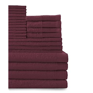 Baltic Linen Company Multi Count 100-Percent Cotton Complete 24-Piece Towel Set, Crimson