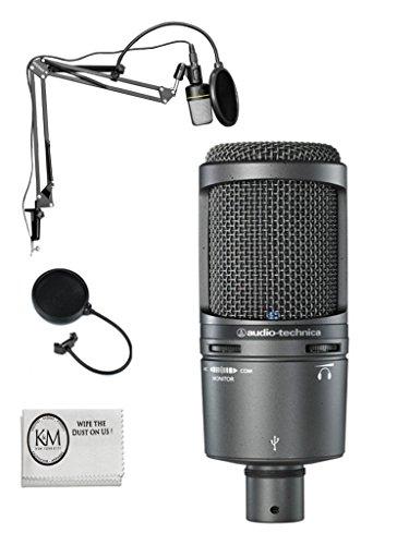 Audio Technica AT2020 USB Plus Microphone w/Black Suspension Boom Stand