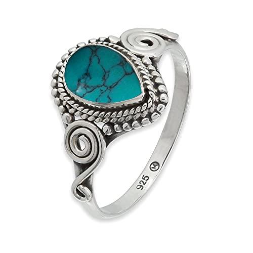 Ring Silber 925 Sterlingsilber Türkis blau grün Stein (Nr: MRI 73), Ringgröße:64 mm/Ø 20.4 mm