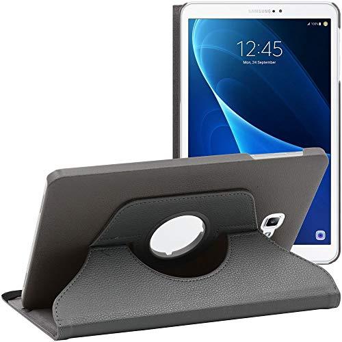 ebestStar - Funda Compatible con Samsung Galaxy Tab A6 A 10.1 (2018, 2016) T580 T585 Carcasa Cuero PU, Giratoria 360 Grados, Función de Soporte, Gris [Aparato: 254.2 x 155.3 x 8.2mm, 10.1'']