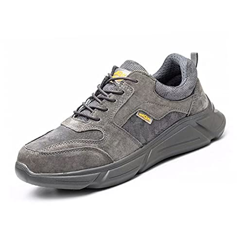 Aingrirn Zapatos de Seguridad Hombre Mujer, Puntera de Acero Zapatillas de Seguridad Trabajo Ligeras Transpirable Construcción Zapatos (Color : Grey, Size : 37 EU)