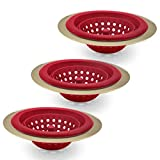 COOK with COLOR Set of 3 Sink Strainers, Flexible Silicone Kitchen Sink Drainers, Traps Food Debris and Prevents Clogs, Large Wide 4.5' Diameter Rim – Red and Gold