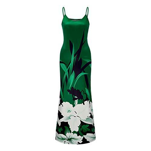 Winkey - Vestido de verano para mujer, cuello en V, estilo bohemio, con estampado floral, maxivestido, sin mangas, para la playa verde S