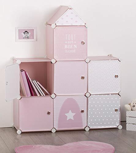 Mueble de almacenamiento columna - Forma Castillo - Color ROSA GRIS y BLANCO