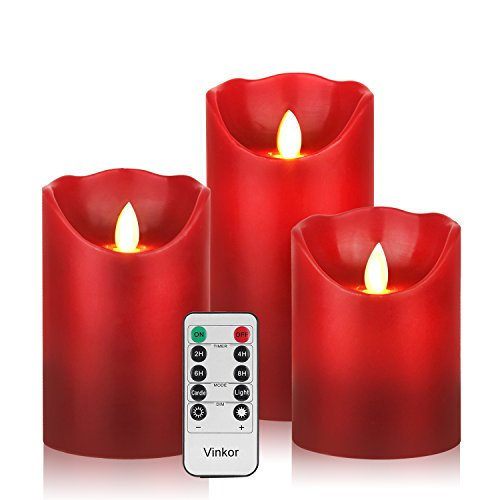 Vinkor Flameless Candles Flickering Flameless Candles Decorative Flameless Candles Classic Real Wax Pillar with Moving LED Flame & 10-Key Remote Control 2/4/6/8 Hours Timer (Burgundy 4' 5' 6')