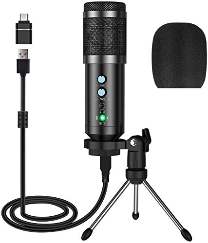 Photo of PC Microphone, Computer Microphone with Volume Control, Tripod Stand, One Key Mute, USB Mic Compatible with Laptop, Mac, Windows, Condenser Microphone for Conference, Online Chatting, Messenger, Skype