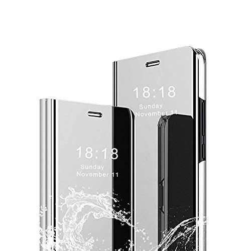 Aidinar Funda para Samsung Galaxy A82 5G, Mirror Smart Flip Cover Stand Function Flip Case Cover para Samsung Galaxy A82 5G Smartphone -Plata