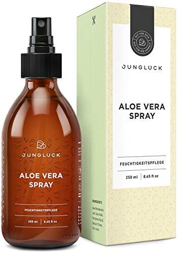 Junglück Aloe Vera Spray aus 92,3% bio Aloe Vera | 250 ml in Braunglas | Feuchtigkeitspflege für gesunde & schöne Haut | Wir stehen für natürliche & nachhaltige Kosmetik made in Germany