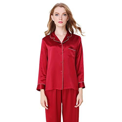 LZJDS Women's Pure Silk Pyjamas 19 Mumi Spring And Autumn Mulberry Silk Home Service Long Sleeve Silk Winter Two-Piece Suit,red,XL