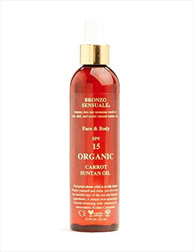 Bronzo Sensuale SPF 15 Sunscreen Deep Golden Tanning Organic Carrot Oil 8.5 Ounces
