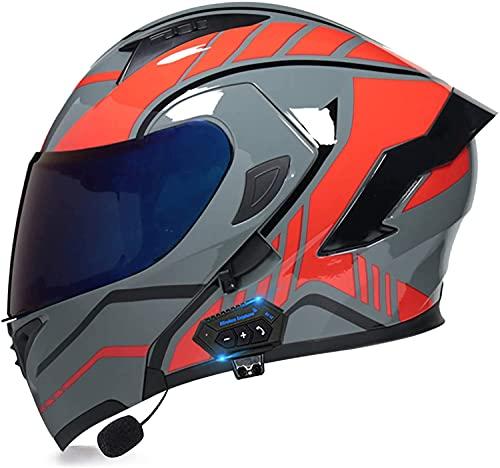 Egrus Casco Plegable de la Motocicleta integrada de la Motocicleta Casco Plegable de la Motocicleta con Anti-Niebla de Doble Cambio ECE Certificado L (Color : Y, Size : L)