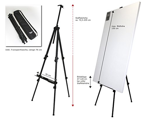 Paintersisters-Neuss Rio XL Alustaffelei für Keilrahmen bis 150 cm - robuste Profi-Qualität in XL-Größe – Höhe max. 209 cm, Tragkraft bis 12 kg