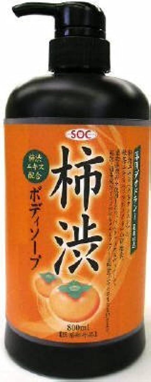 前文洗う協力渋谷油脂 SOC 薬用柿渋ボディソープ 本体 800ml お肌にマイルドなせっけんタイプのボディソープ フルーティーフローラルのさわやかな香り×12点セット (4974297276010)