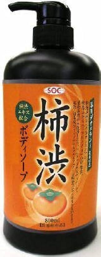 ケーブル学期社会科渋谷油脂 SOC 薬用柿渋ボディソープ 本体 800ml お肌にマイルドなせっけんタイプのボディソープ フルーティーフローラルのさわやかな香り×12点セット (4974297276010)