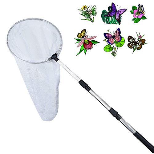 Insektennetz Libelle Schmetterlingsnetz ausziehbar Stab aus Aluminiumlegierung Teleskopgriff Angelnetze für Erwachsene, Kinder