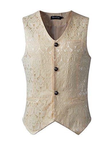 DarcChic Mens Gothic Vest Waistcoat Steampunk Victorian (XXL, Cream)