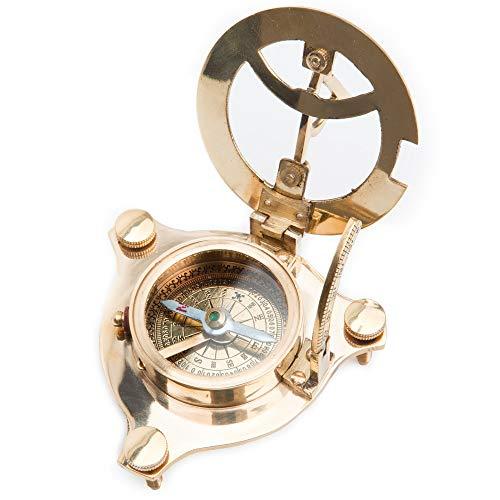 Monsterzeug Taschenkompass mit Sonnenuhr, Taschenuhr mit Kompass, Geschenk für Reisende und Abenteurer