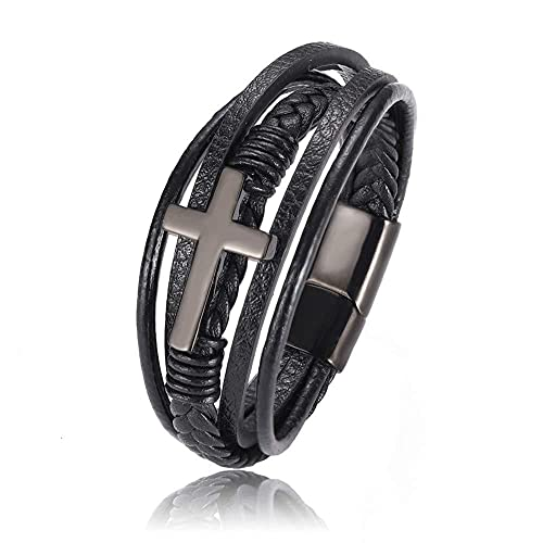 KJSDHAE Pulsera tejida a mano multicapa, pulsera de cuero trenzado negro, cierre magnético de acero inoxidable, pulsera de cuero auténtico de alta calidad para hombres en negro - 21 cm