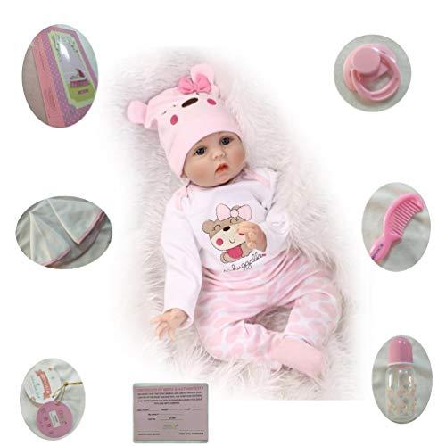 ZIYIUI 55cm Realista Muñeca Bebe Reborn 22 Pulgadas Muñecos Bebé Niña Vinilo Suave Silicona Reborn Baby Dolls Girl Ojos Abiertos Niños Juguete