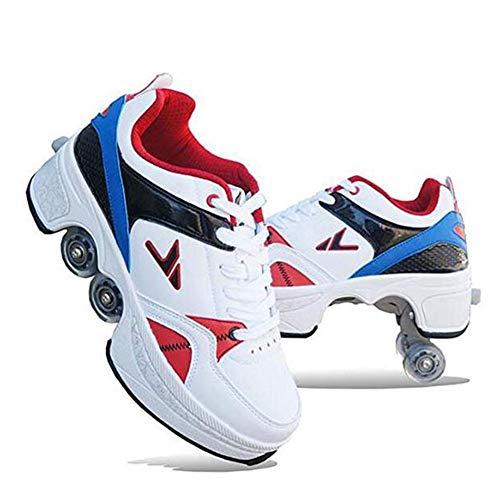 WYEING. 2-In-1Quad Skates Multifunktions 4-Rad Verstellbare Rollschuhe,Verstecktes Rad Für Laufsportschuhe Zum Spielen,Einstellbare Rollschuhe Für Skaten,Laufen,Unisexe,38