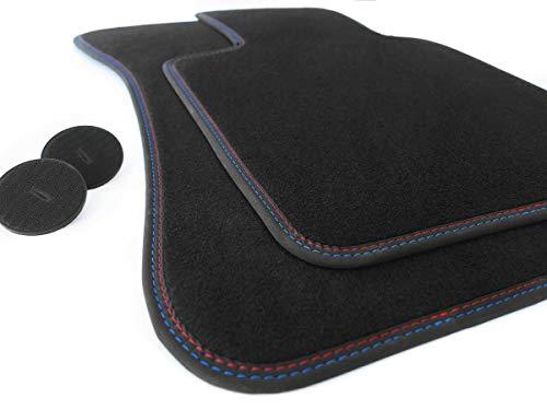 kh Teile Fußmatten Z4 E89 Roadster Tuning Original Premium Qualität Automatten Zubehör 2X Velours, Doppelnaht Rot Blau