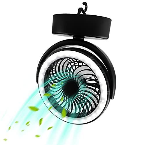 Ventilador mini USB para camping con luz LED, 3000 mAh, portátil, con gancho y rotación de 360°, velocidad del viento ajustable en 3 niveles, para viajes, picnic, barbacoas, camping