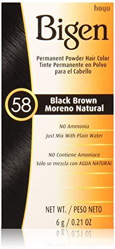 Bigen Permanent Powder Hair Color 58 Black Brown 1 ea (Pack of 4)