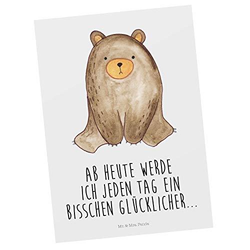 Mr. & Mrs. Panda Einladung, Karte, Postkarte Bär sitzend mit Spruch - Farbe Weiß