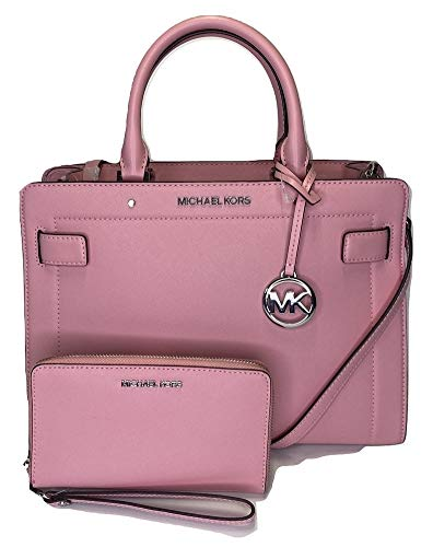 Bundle of 3 items: MICHAEL Michael Kors Rayne MD EW Satchel bundled with Michael Kors Jet Set Travel MD ZA Phone Holder Wallet and Michael Kors Dust Bag Zip top, Dual leather handles, adjustable removable shoulder crossbody strap Interior : Lined int...