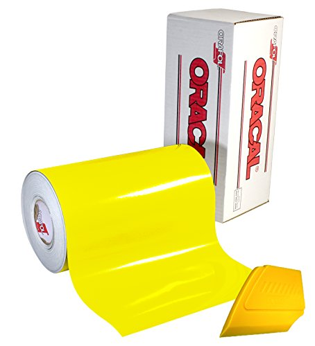 ORACAL 651 Multi-Colored Vinyl Solvent-Based Adhesive-Backed Calendared Wrap Decals w/ Yellow Multi-Purpose Squeegee (12 x 5ft, Brimstone Yellow)