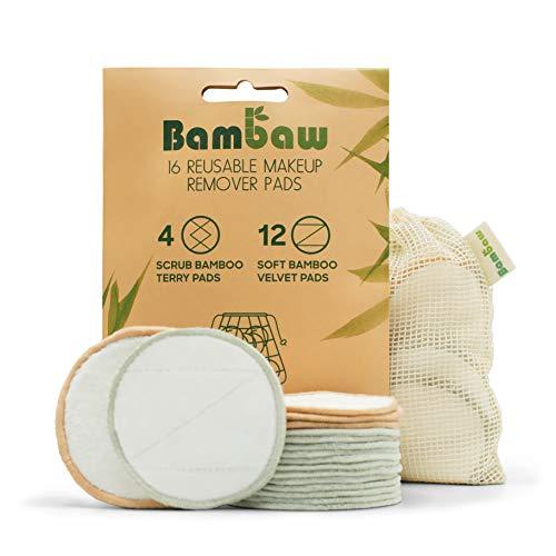 Waschbare Abschminkpads| 16 Wiederverwendbare Wattepads aus Bambus & Baumwolle mit Wäschebeutel | Pads Waschbar | Wattepads wiederverwendbar | Abschminkspads Waschbar | Zero Waste | Bambaw