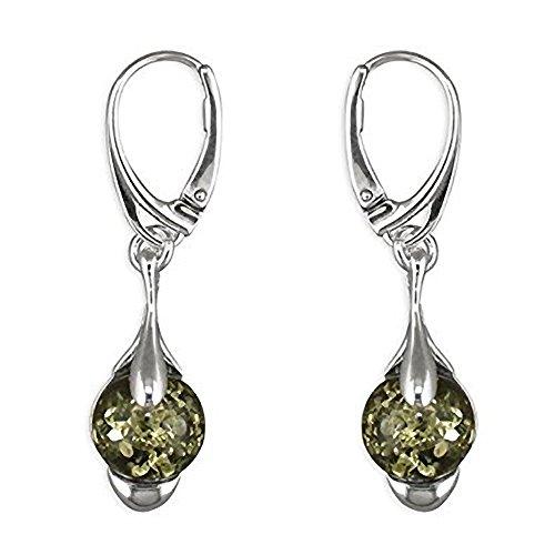 Ohrringe Sterling-Silber 925, Bernstein, Klappbügel, Tropfenform, grün/Bernstein-Fancy Ohrringe Art Deco Ohrringe Silber Bernstein-Ideal für Perlenliebhaberinnen.